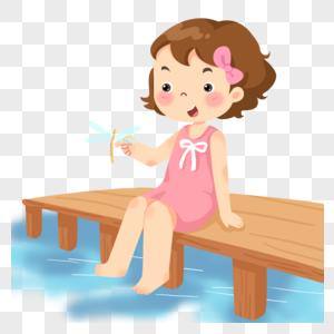坐在池塘边的小女孩图片
