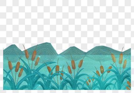 诗经雨季河岸菖蒲远山插画图片