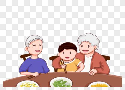 温馨爷爷奶奶教孙子用筷子吃饭插画图片