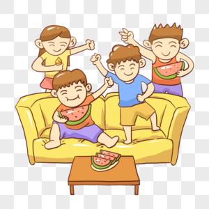 沙发上吃西瓜图片