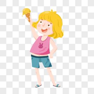 夏天女孩开心吃冰激凌图片