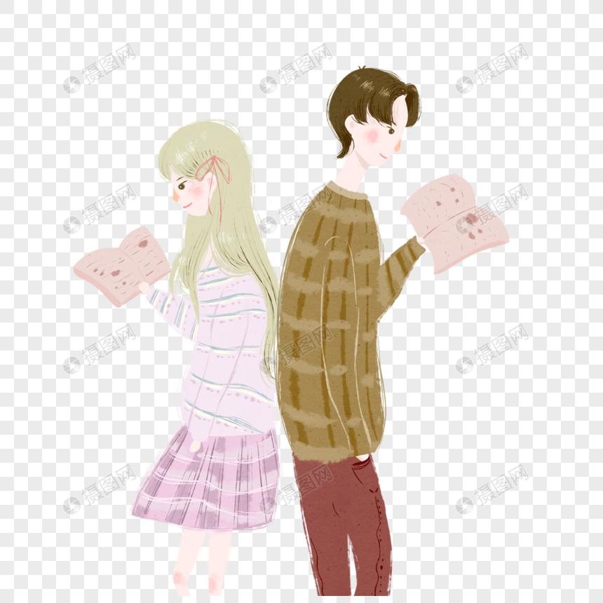 读书的情侣图片