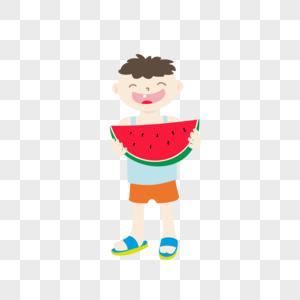 矢量卡通元素素材夏天来了小朋友抱着大西瓜吃水果西瓜图片