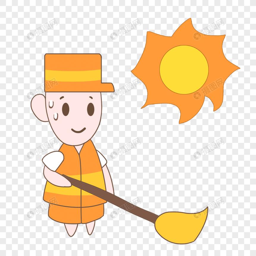 手绘卡通夏天高温工作清扫人员图片