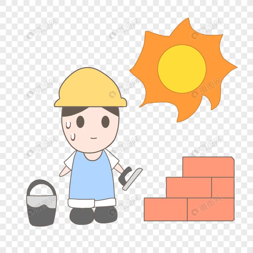 手绘卡通夏天高温工作砌墙工人图片