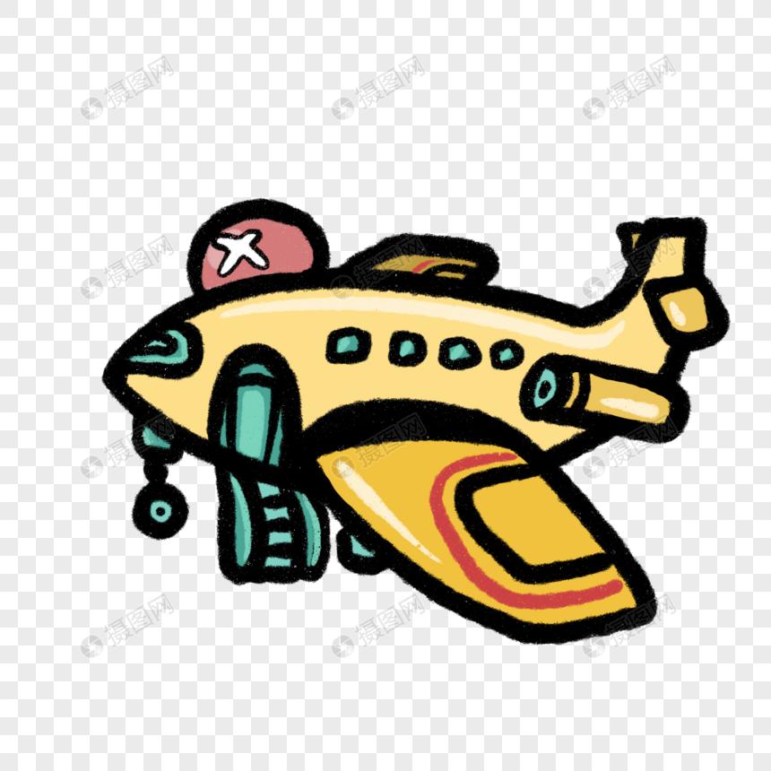 卡通黄色飞机插图图片