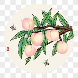 中国风写意桃子图片