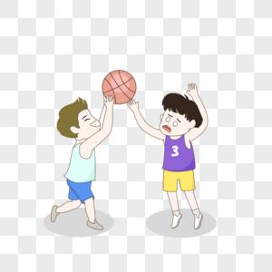 打篮球小伙子手绘插画图片