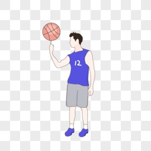 转篮球小伙子手绘矢量插画图片