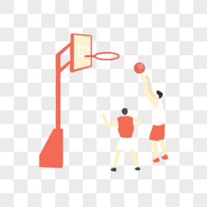 篮球比赛矢量手绘插画图片