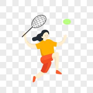 打网球女孩手绘插画图片