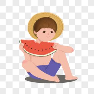 抱着西瓜的小孩图片
