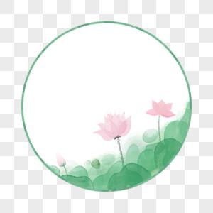 圆形水彩荷花边框图片