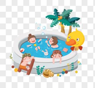 小朋友的夏日泳池嬉戏图片