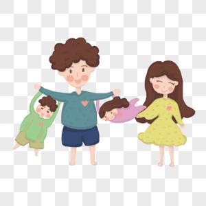 手绘插画四口之家图片