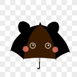 黑色猫咪雨伞图片