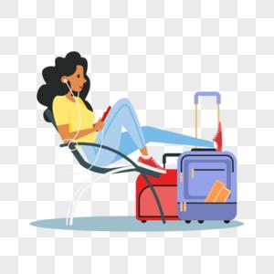 在机场候机的女生图片