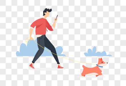 边遛狗边玩手机的男生图片