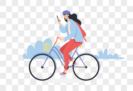 一边骑车一边玩手机的女生图片