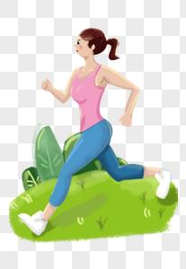 迎着朝阳晨跑的跑步运动女孩手绘插画图片