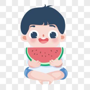 吃西瓜的小孩图片