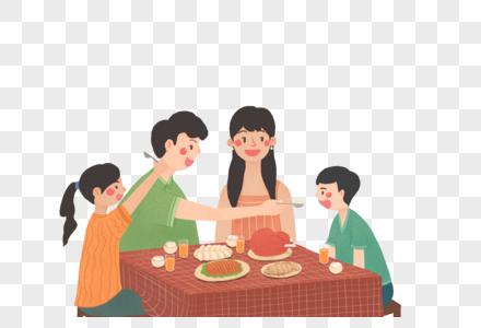 聚餐的一家人图片