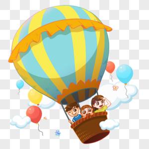 乘坐热气球的孩子们图片