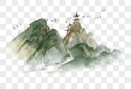 中国风水墨山水飞鸟图片