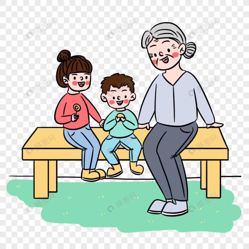 清新卡通二胎家庭奶奶带孩子场景图片