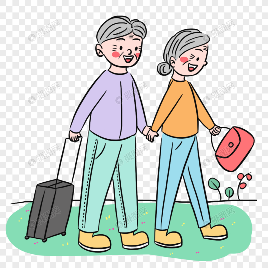 温馨老年夫妻旅游场景图片