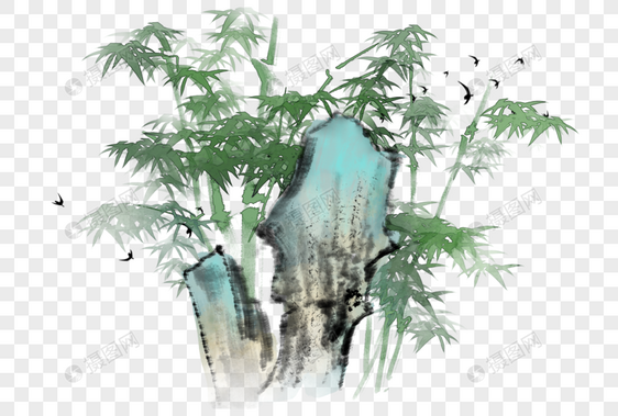中国风水墨写意山石竹子图片