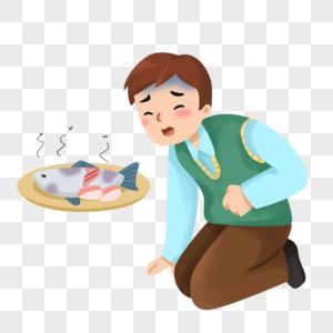 手绘卡通食物中毒的男人图片