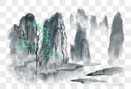 中国风水墨写意桂林山水图片