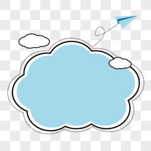 飞机云朵浅蓝的边框对话框图片