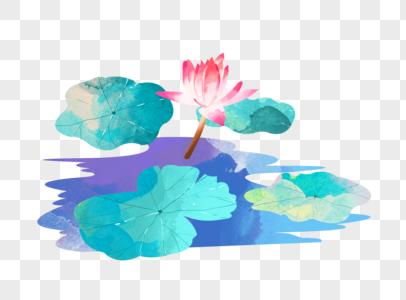 夏至荷花盛开池塘荷叶水彩插画元素手绘图片