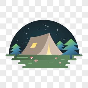 野外露营森林扁平插画图片