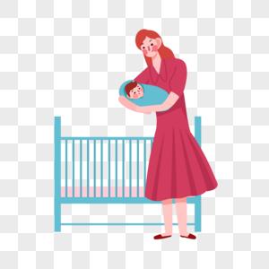 抱孩子母亲图片