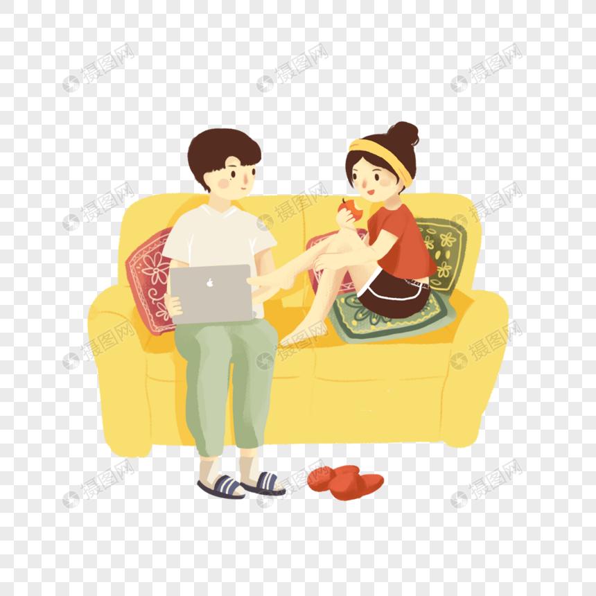 坐在沙发上的情侣图片