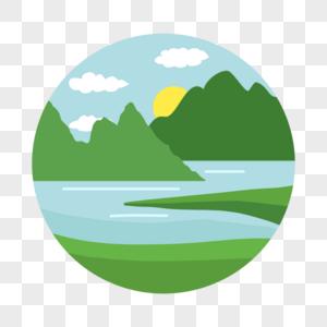 群山湖泊图片