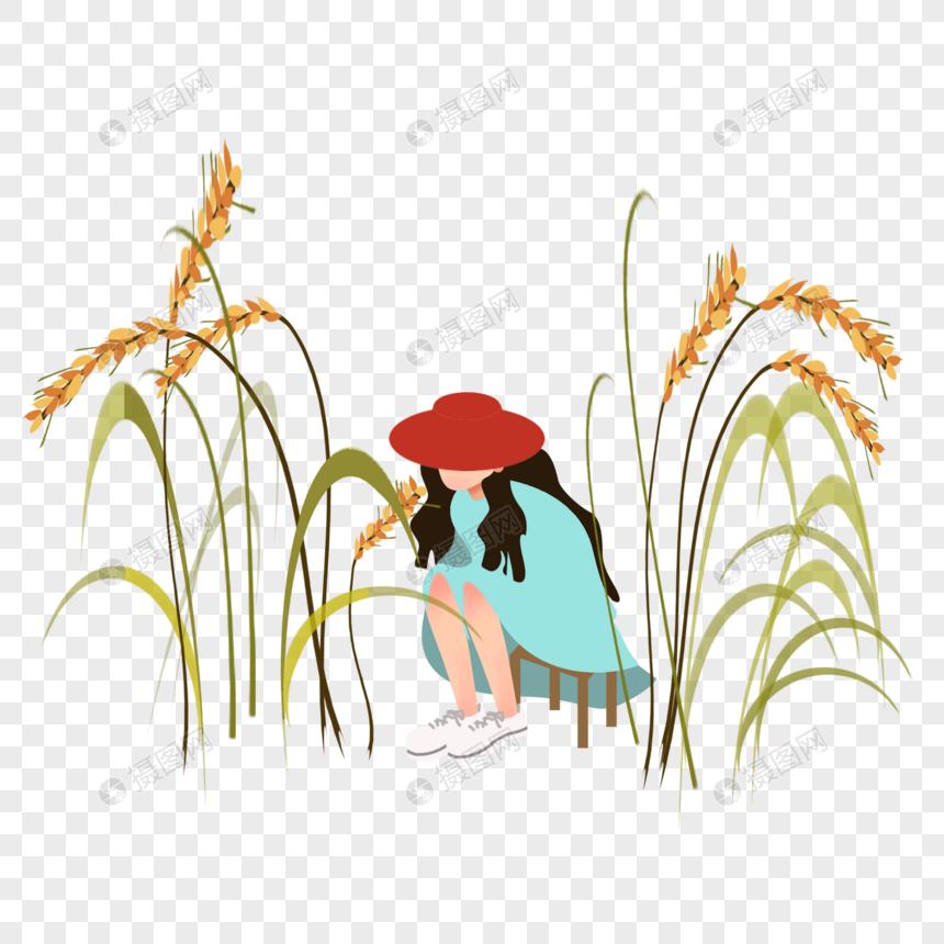 田地里稻草可爱少女图片