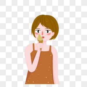 吃冰淇淋人物图片