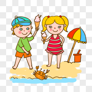 海边玩耍游泳的小孩图片