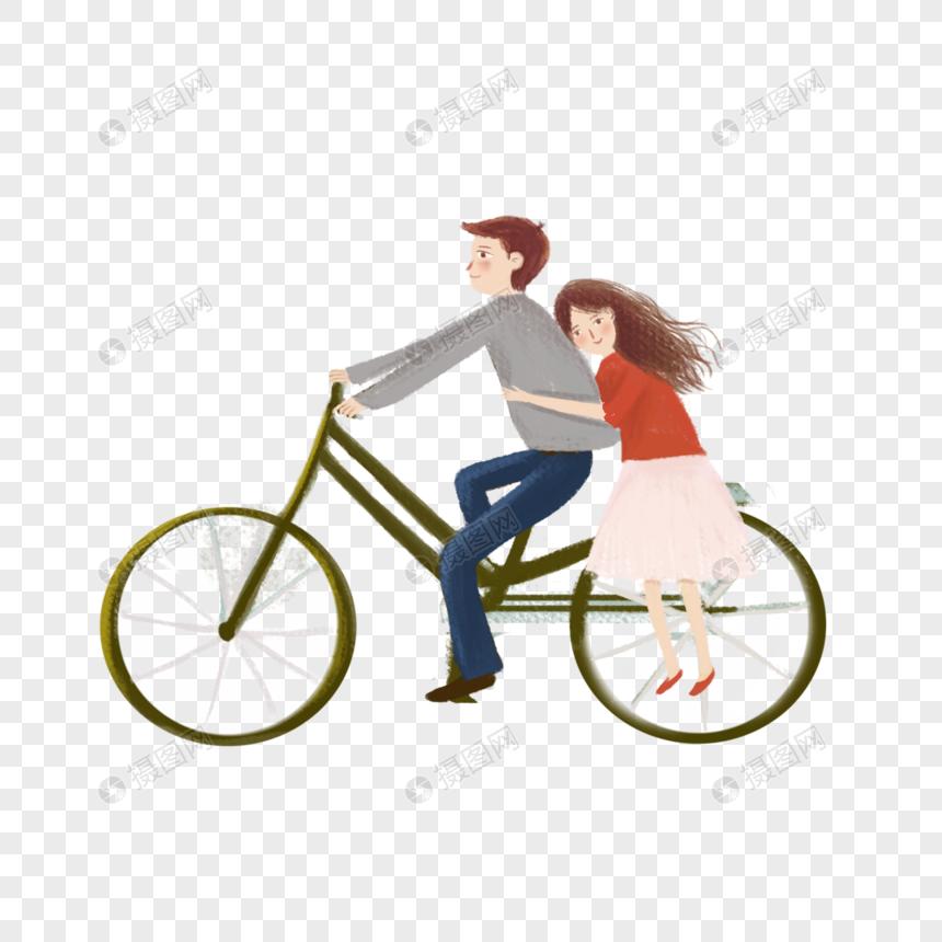 骑车出行的情侣图片