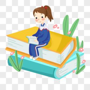 坐在书本上复习的女孩图片