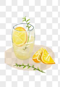 夏日柠檬茶手绘插画素材图片