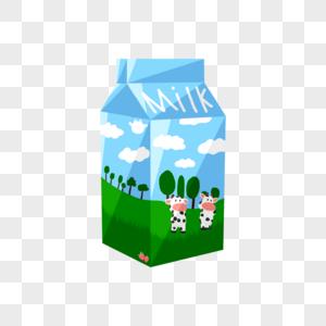 蓝天草地牛奶盒图片