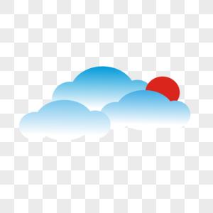 云朵太阳图片