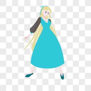 黄色长发蓝绿长裙黑纱宽袖淑女图片