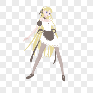 黄色长发棕白色女仆装短裙妹子图片