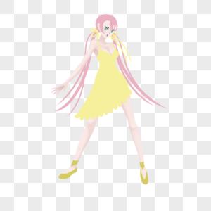 粉色低双马尾黄色蕾丝连衣裙妹子图片
